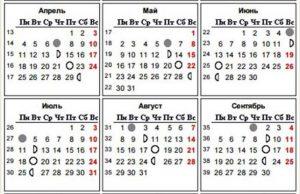 Таблица Лунного календаря 2016 года
